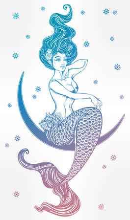 naiad: Hand drawn beautiful artwork of beautiful mermaid sitting in the moon. Sea, fantasy, spirituality, mythology, tattoo art, coloring books. Isolated vector illustration.