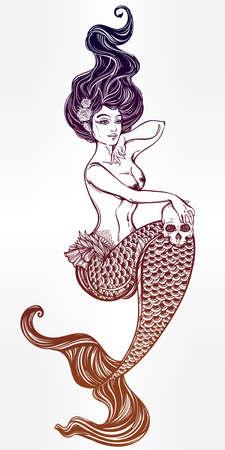 mythology: Hand drawn beautiful artwork of beautiful mermaid with human skull in her hands. Sea, fantasy, spirituality, mythology, tattoo art, coloring books. Isolated vector illustration.