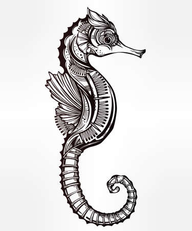 seahorse: Hand drawn romantic Seahorse. Vector illustration isolated. Marine art for tattoo, coloring books. Beautifully detailed, ornate.