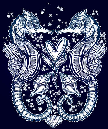 sea shell: Hand drawn romantic Seahorse with heart and nautical elements. Vector illustration isolated. Marine art for tattoo, poster, scrapbooking, prints or coloring books. Beautifully detailed, ornate. Illustration