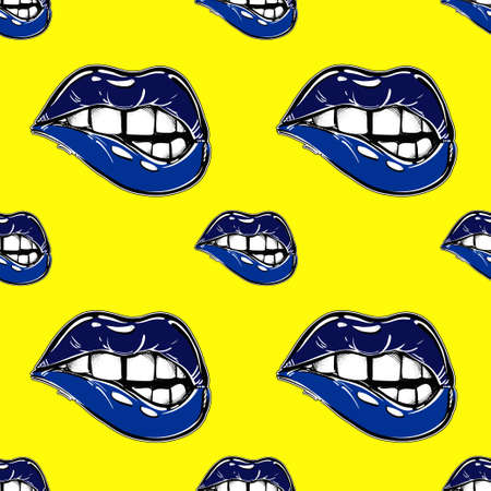 fatal: Sexy fatal biting lips seamless pattern. Pop art print in 1990s art style. Modern abstract pattern for textiles and fabrics, wrapping paper and wallpapers of all kinds. Vector illustration. Illustration
