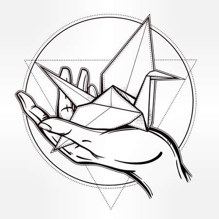 hopes: Hand drawn paper crane in a hand palm. Romantic template in boho style. Isolated vector illustration. Invitation element. Tattoo, travel, adventure, hope, meditation symbol.