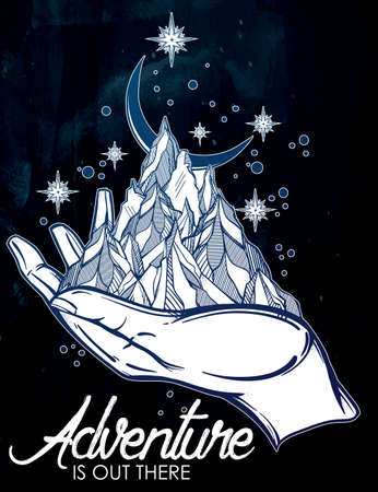 the great outdoors: Hand drawn mountain range in a hand palm with typographic text. Adventure is out there. Isolated vector illustration. Invitation element. Tattoo, travel, adventure symbol. The great outdoors. Illustration
