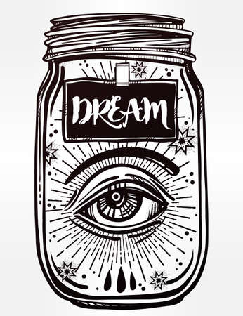 for a dream: Hand drawn romantic flesh art of a wish jar with mystic eye. Vector illustration isolated. Tattoo design, mystic magic symbol for your use. Coloring book page. Labes has a message to dream on it. Illustration