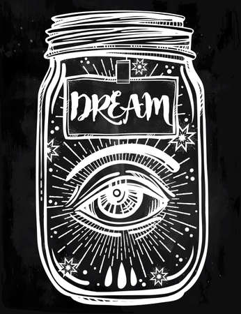 flesh: Hand drawn romantic flesh art of a wish jar with mystic eye. Vector illustration isolated. Tattoo design, mystic magic symbol for your use. Coloring book page. Labes has a message to dream on it. Illustration