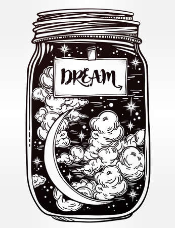 for a dream: Hand drawn romantic wish jar with night sky moon and stars. Vector illustration isolated. Tattoo design, mystic magic symbol for your use. Coloring book page. Label has a message to dream on it. Illustration