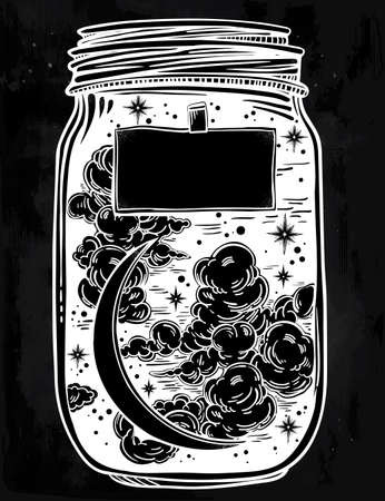 blank space: Hand drawn romantic wish jar with night sky moon and stars. Vector illustration isolated. Tattoo design, mystic magic symbol for your use. Coloring book page. Blank space for your text on a label.