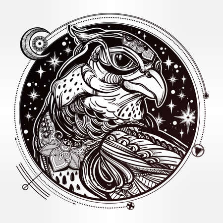 bird of prey: Detailed hand drawn bird of prey head. Head of eagle, falcon or hawk in the sky. Isolated Vector illustration. Tattoo art, spirituality,boho, magic symbol. Ethnic, mystic tribal element for your use.