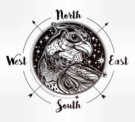 bird of prey: Wind rose compass with bird of prey head. Head of eagle, falcon or hawk in the sky. Isolated Vector illustration. Tattoo art, spirituality, boho, magic symbol. Ethnic, mystic tribal element for you.