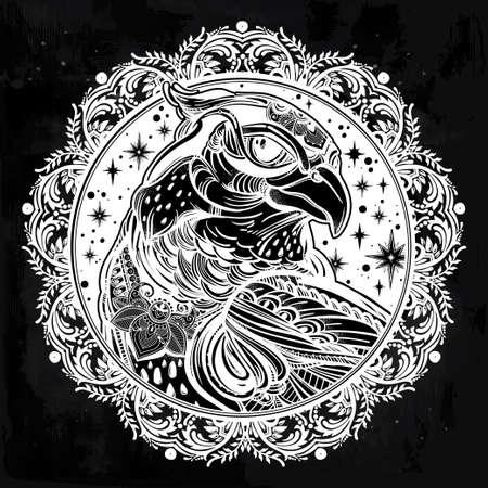 bird of prey: Detailed ornate mandala bird of prey head. Head of eagle, falcon or hawk in the sky. Isolated Vector illustration. Tattoo art, spirituality,boho symbol. Ethnic, mystic tribal element for your use. Illustration