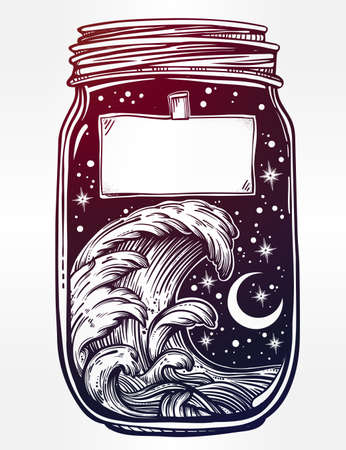 sea wave: Hand drawn romantic wish jar with night sky and water waves in the sea or ocean . Vector illustration isolated. Tattoo design, mystic magic symbol for your use. Blank space for your text on a label. Illustration