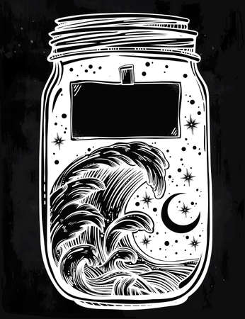 blank space: Hand drawn romantic wish jar with night sky and water waves in the sea or ocean . Vector illustration isolated. Tattoo design, mystic magic symbol for your use. Blank space for your text on a label. Illustration