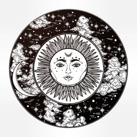Hand drawn romantic beautiful round drawing of a night sky with sun and moon inside. Vector illustration isolated. Ethnic design, mystic tribal boho symbol for your use. Illustration