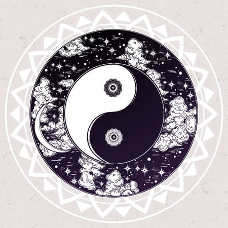 mystic: Hand drawn romantic beautiful round drawing of a night sky with Yin and Yang trendy boho symbol. Vector illustration isolated. Ethnic design, mystic symbol for your use.