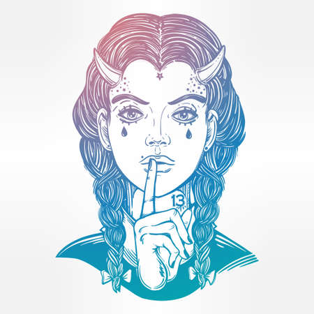 satanic: Hand drawn beautiful artwork of female demon portriat. Mystic diety. Alchemy, religion, spirituality, occultism, tattoo art,. Isolated vector illustration. Fantasy, coloring books, prints. Illustration