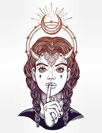 occultism: Hand drawn beautiful artwork of female demon portriat. Mystic diety. Alchemy, religion, spirituality, occultism, tattoo art,. Isolated vector illustration. Fantasy, coloring books, prints. Illustration
