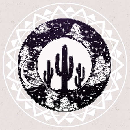 night art: Hand drawn romantic beautiful round drawing of a night sky moon cactus silhouette. Desert spiritual art. Vector illustration isolated. Ethnic design, mystic tribal boho symbol for your use.