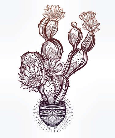 ink pot: Drawing of flower pot with cactus. Desert spiritual cacti art. Vector illustration isolated. Ethnic design, mystic boho symbol. Blackwork tattoo flash, dotwork. Print, posters, t-shirts and textiles. Illustration