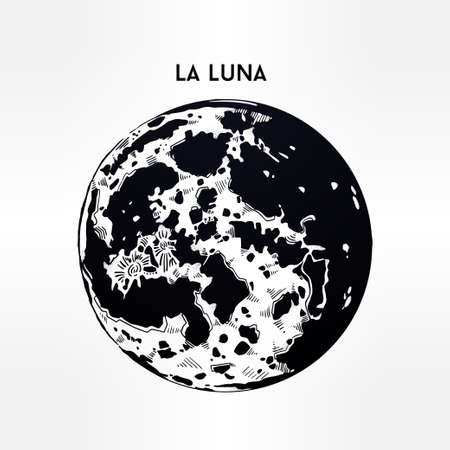 la: Drawing of full moon in vintage style. La Luna in Spanish. Vector illustration isolated. Ethnic design, mystic tribal boho symbol. Blackwork tattoo. Posters, t-shirts and textiles, tarot card.