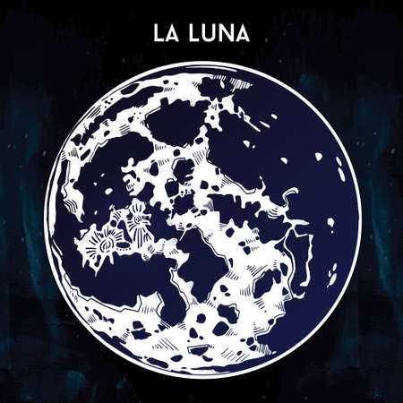 luna: Drawing of full moon in vintage style. La Luna in Spanish. Vector illustration isolated. Ethnic design, mystic tribal boho symbol. Blackwork tattoo. Posters, t-shirts and textiles, tarot card.