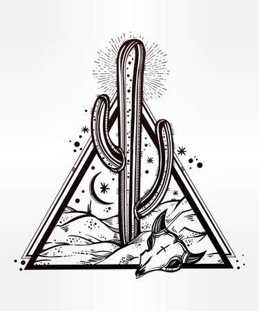 deserts: Hand drawn romantic flash tattoo style desert landscape. Skull with cactus and moon. Spiritual cacti art. Vector illustration isolated. Ethnic design, mystic tribal boho symbol for your use.