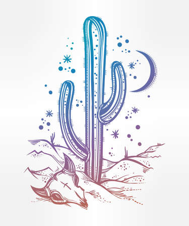 Hand drawn romantic flash tattoo style desert landscape, skull with cactus and moon. Spiritual cacti art. Vector illustration isolated. Ethnic design, mystic tribal boho symbol for your use.