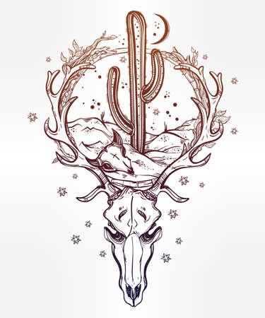 Hand drawn romantic flash tattoo style desert landscape in deer skull with cactus and moon. Spiritual cacti art. Vector illustration isolated. Ethnic design, mystic tribal boho symbol for your use. Illustration