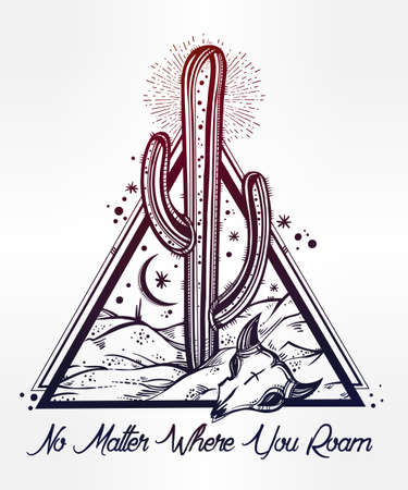 mystical: Hand drawn romantic flash tattoo style desert landscape. Skull with cactus and moon. Spiritual cacti art. Vector illustration isolated. Ethnic design, mystic tribal boho symbol for your use.
