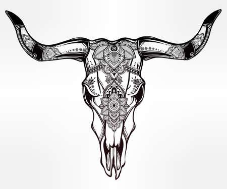 muerte: Dibujado a mano del desierto cráneo de vaca o búfalo adornado decorativo del estilo del tatuaje romántico. arte indio de Navajo nativo espiritual. aislado ilustración vectorial. Diseño étnico, místico símbolo tribal boho para su uso. Vectores