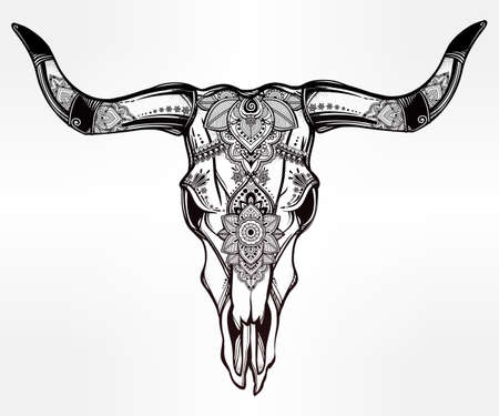 mexicans: Hand drawn romantic tattoo style ornate decorative desert cow or buffalo skull. Spiritual native indian navajo art. Vector illustration isolated. Ethnic design, mystic tribal boho symbol for your use.