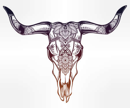 indian tattoo: Hand drawn romantic tattoo style ornate decorative desert cow or buffalo skull. Spiritual native indian navajo art. Vector illustration isolated. Ethnic design, mystic tribal boho symbol for your use.