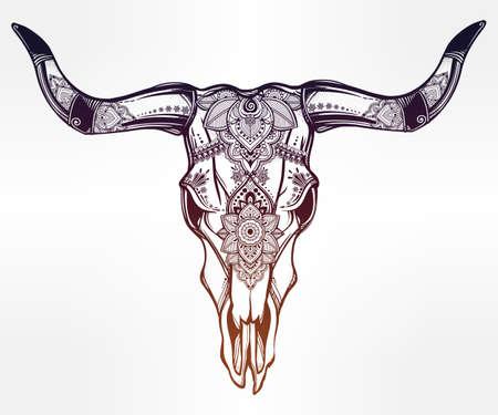 indian buffalo: Hand drawn romantic tattoo style ornate decorative desert cow or buffalo skull. Spiritual native indian navajo art. Vector illustration isolated. Ethnic design, mystic tribal boho symbol for your use.