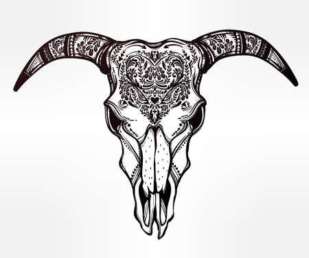 Hand drawn romantic tattoo style ornate decorative demon like goat skull. Spiritual native indian navajo art. Vector illustration isolated. Ethnic design, mystic tribal boho symbol for your use. Illustration