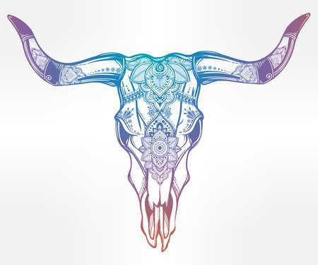 gitana: Dibujado a mano del desierto cráneo de vaca o búfalo adornado decorativo del estilo del tatuaje romántico. arte indio de Navajo nativo espiritual. aislado ilustración vectorial. Diseño étnico, místico símbolo tribal boho para su uso. Vectores
