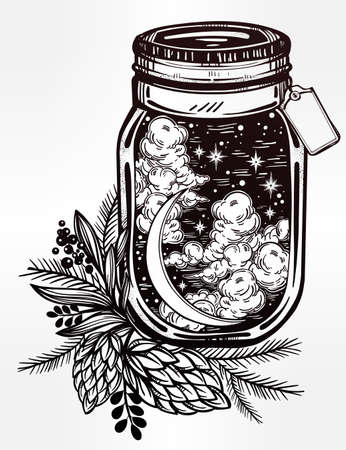 Hand drawn romantic wish jar with night sky moon and stars. Vector illustration isolated. Tattoo design, mystic magic symbol for your use. Coloring book page. Blank space for your text on a label.
