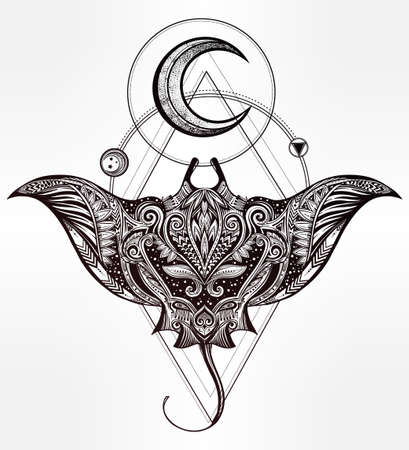 stingray: Hand drawn vector cramp fish in Maori tribal ornament decor. Stingray ethnic background, tattoo art, diving, boho design. Use for print, posters, t-shirts, textiles.