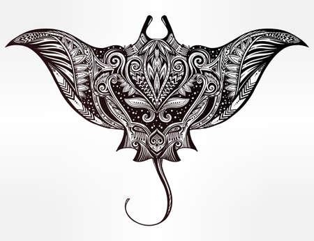 Hand getrokken vector kramp vis in Maori stam decoratie decor. Stingray etnische achtergrond, tattoo kunst, duiken, boho ontwerp. Gebruik voor print, posters, t-shirts, textiel.