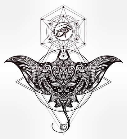polynesia: Hand drawn vector cramp fish in Maori tribal ornament decor. Stingray ethnic background, tattoo art, diving, boho design. Use for print, posters, t-shirts, textiles.