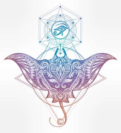 ojo de horus: Vector dibujado a mano calambre peces en maorí tribal ornamento decoración. Stingray fondo étnico, arte del tatuaje, el buceo, el diseño boho. Utilizar para la impresión, posters, camisetas, textiles. Vectores