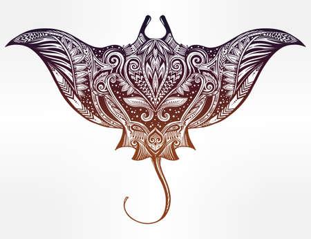 manta: Hand drawn vector cramp fish in Maori tribal ornament decor. Stingray ethnic background, tattoo art, diving, boho design. Use for print, posters, t-shirts, textiles.