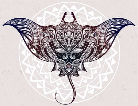 cramp: Hand drawn vector cramp fish in Maori tribal ornament decor. Stingray ethnic background, tattoo art, diving, boho design. Use for print, posters, t-shirts, textiles.