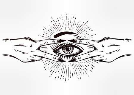 V sign hand. Flash tattoo fingers showing two forming a figure with an eye in it. Vector illustration isolated. Pop design, music, summer, print symbol for your use.