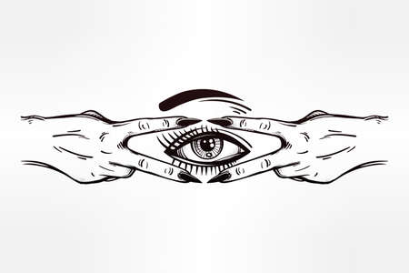 occult: V sign hand. Flash tattoo fingers showing two forming a figure with an eye in it. Vector illustration isolated. Pop design, music, summer, print symbol for your use.