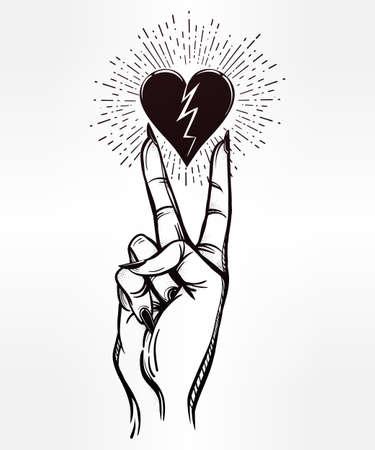 rocker girl: V Muestra de la mano. los dedos del flash del tatuaje con el corazón roto. aislado ilustración vectorial. diseño del tatuaje, retro, música, verano, símbolo de impresión para su uso.
