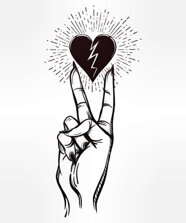 broken love: V sign hand. Flash tattoo fingers with broken heart. Vector illustration isolated. Tattoo design, retro, music, summer, print symbol for your use.