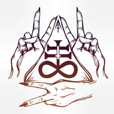 satanism: V sign hand. Flash tattoo fingers showing two forming a figure with the Satanic Cross . Vector illustration isolated. Tattoo design, retro, music, summer, print symbol for your use.