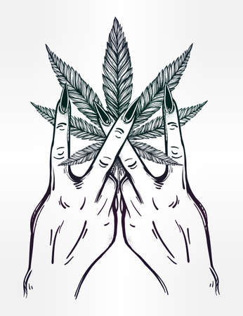 indica: V sign hand. Flash weed tattoo fingers with Marijuana leaf. Vector illustration isolated. Tattoo design, retro, music, summer, print symbol for your use.