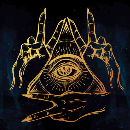 V sign hand. Flash tattoo fingers showing two forming a figure with an eye in it. Vector illustration isolated. Tattoo design, retro, music, summer, print symbol for your use. Illustration