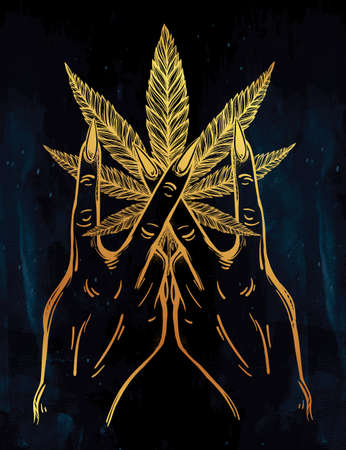 V sign hand. Flash weed tattoo fingers with Marijuana leaf. Vector illustration isolated. Tattoo design, retro, music, summer, print symbol for your use.