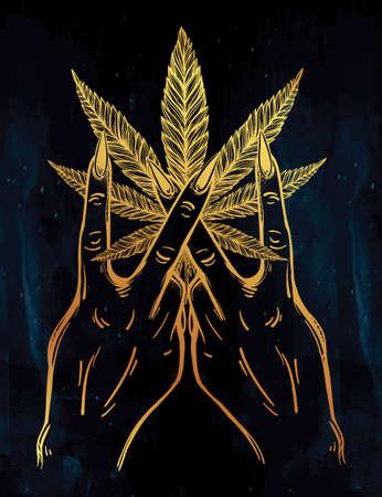 V signe la main. Flash weed tatouage doigts avec feuille de cannabis. Vector illustration isolé. conception de tatouage, rétro, musique, été, symbole d'impression pour votre usage. Illustration